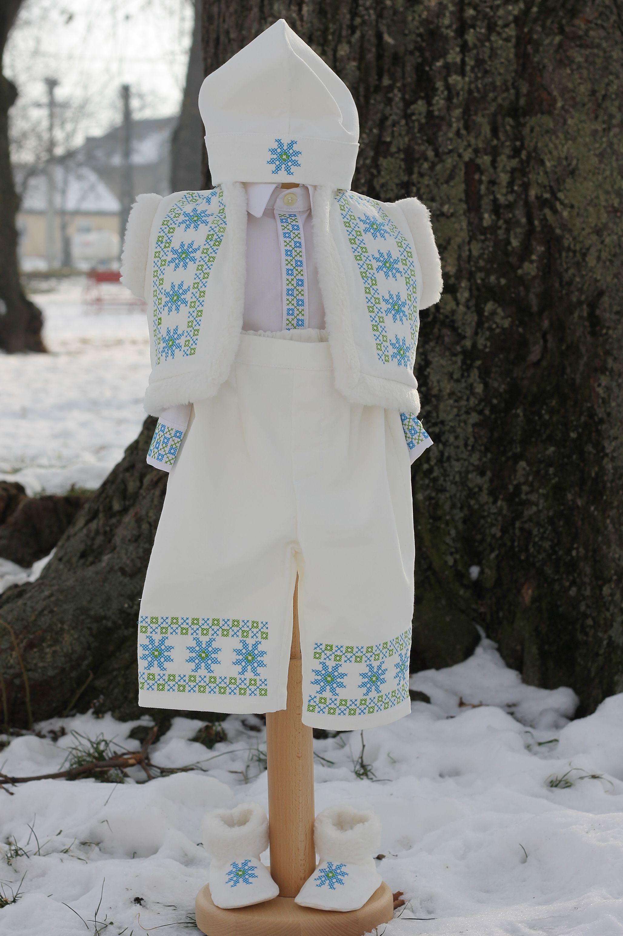 Hainute Costumas Botez Stilizat Cu Motive Traditionale Romanesti