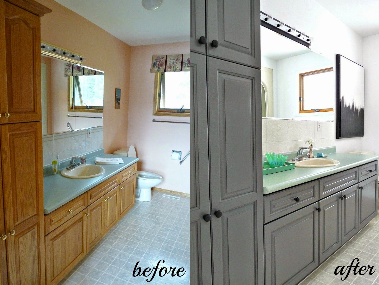 Bathroom cabinet refinishing - Cabinet Refinishing 101 Latex Paint Vs Stain Vs Rust Oleum Cabinet Transformations
