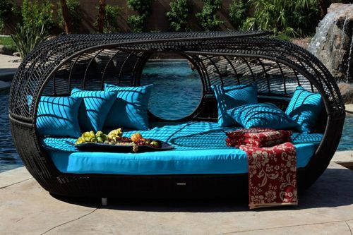 Amazon.com: Patio Furniture / Handcrafted Outdoor Wicker Daybed / For Better  Homes And Gardens / Rose Garden Seating / Loveseat Blue: Patio, Lawn