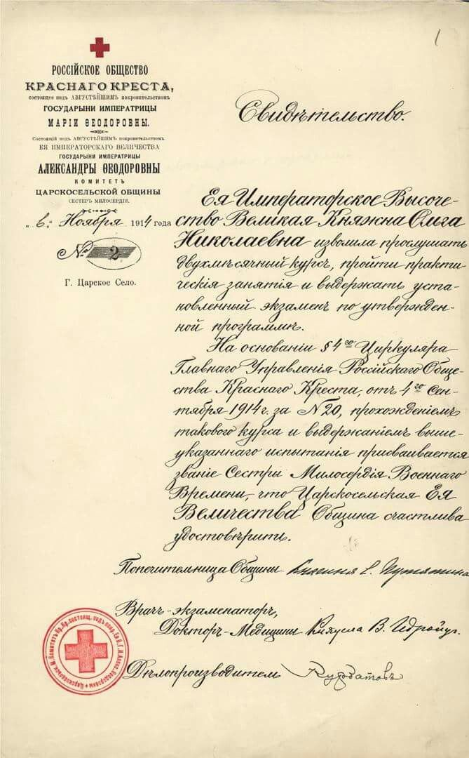 Grand Duchess Olga Nikolaevna Romanova Of Russias Nursing