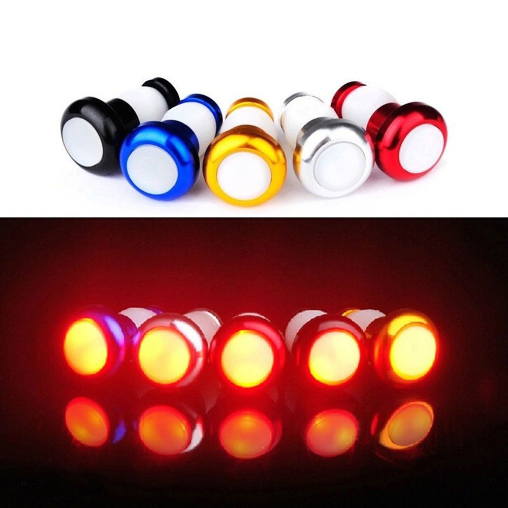 1Pair Safety Cycling Bike Turn Signal Handle Bar End Plug LED Red Light Lamps
