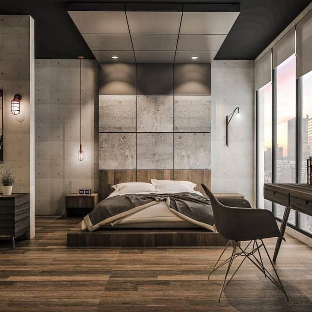 Industrial Contemporary: Concrete & Wood Bedroom Design By Emanuel Viyantara