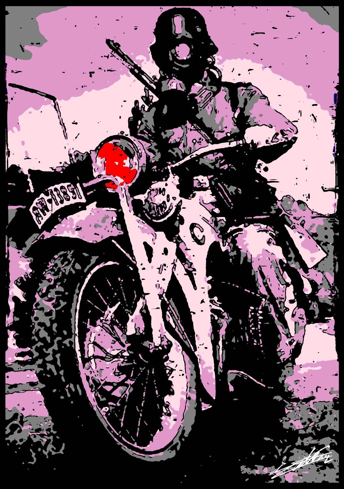 tableau peinture acrylique moderne pop art color moto guerre wwii wehrmacht allemand violet. Black Bedroom Furniture Sets. Home Design Ideas