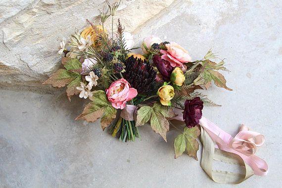 Boho Garden Silk Wedding Bouquet And Boutonniere Set