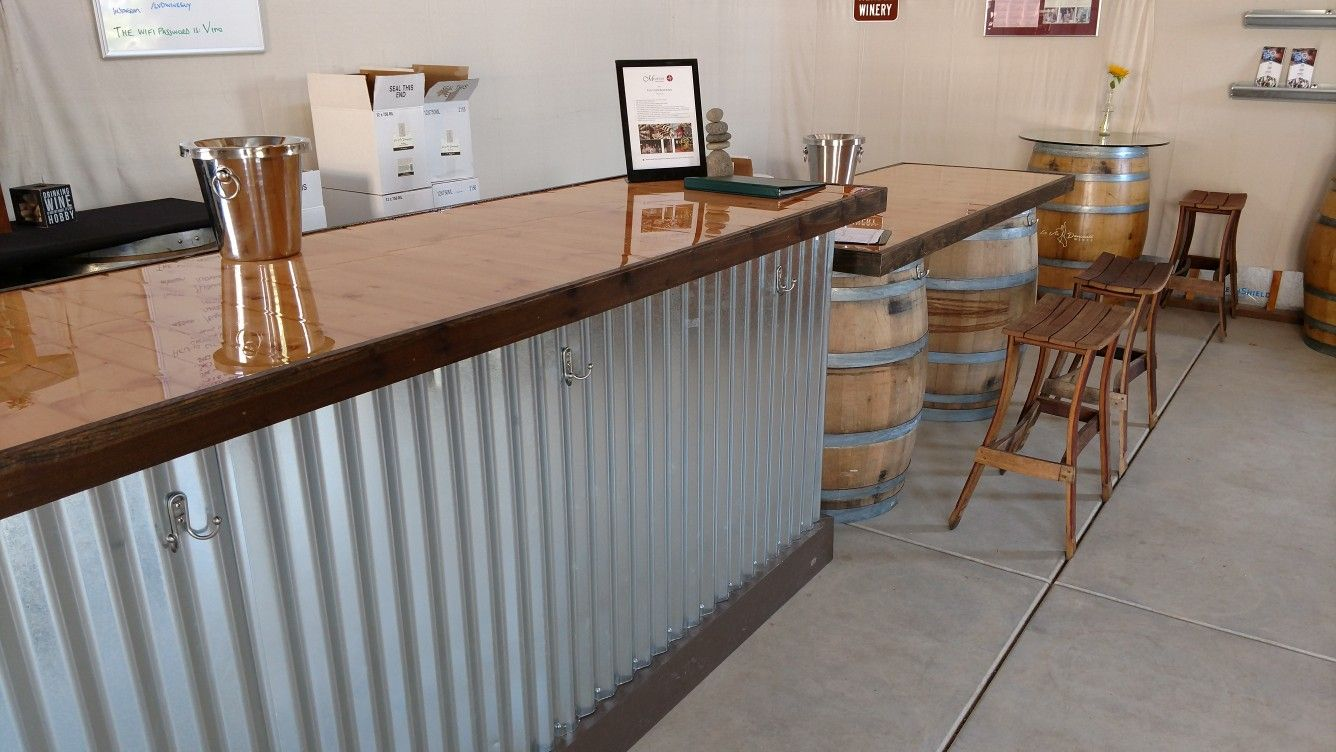 Tasting Room Bar Made From A Recycled Counter From A Dress Shop Sided With Corrugate Roofing And Topped With 1x8 Tongue And Tasting Room Bar Room Home Decor