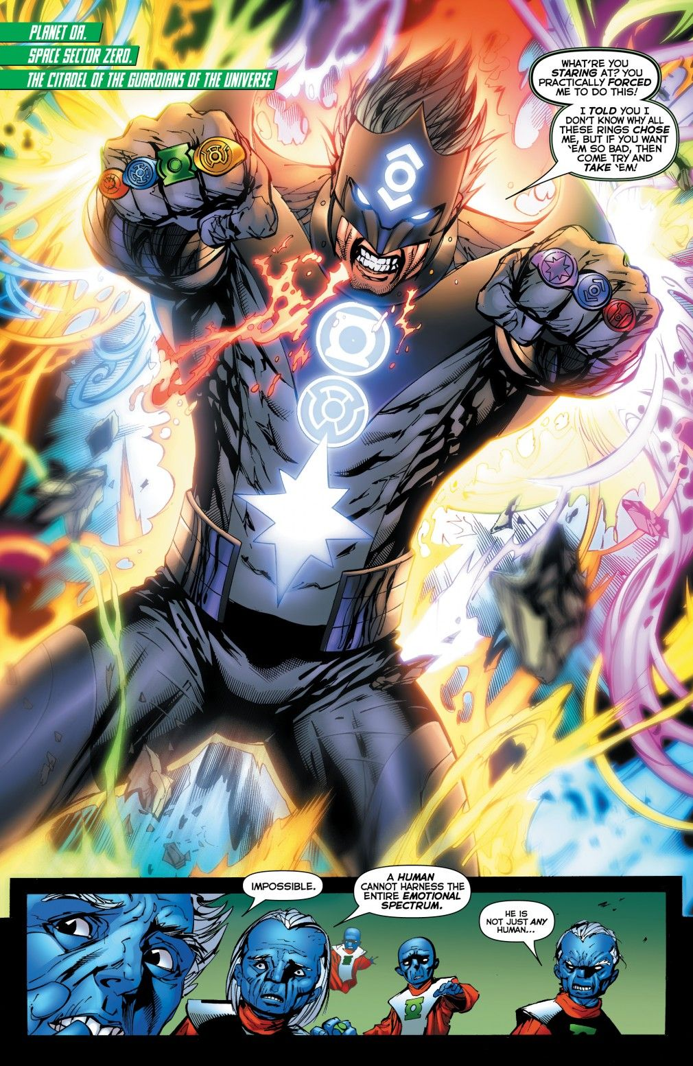 Kyle Rayner with all the rings