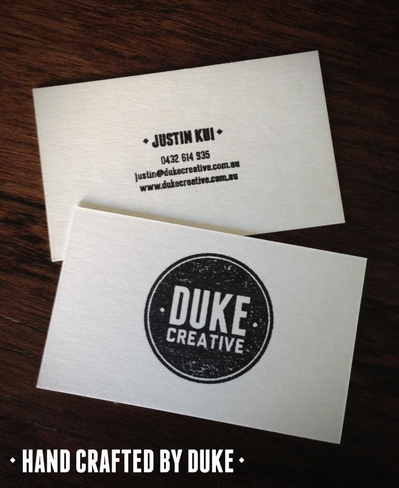 Duke Creative Hand Crafted Business Cards. Stamped on Beer Matte ...