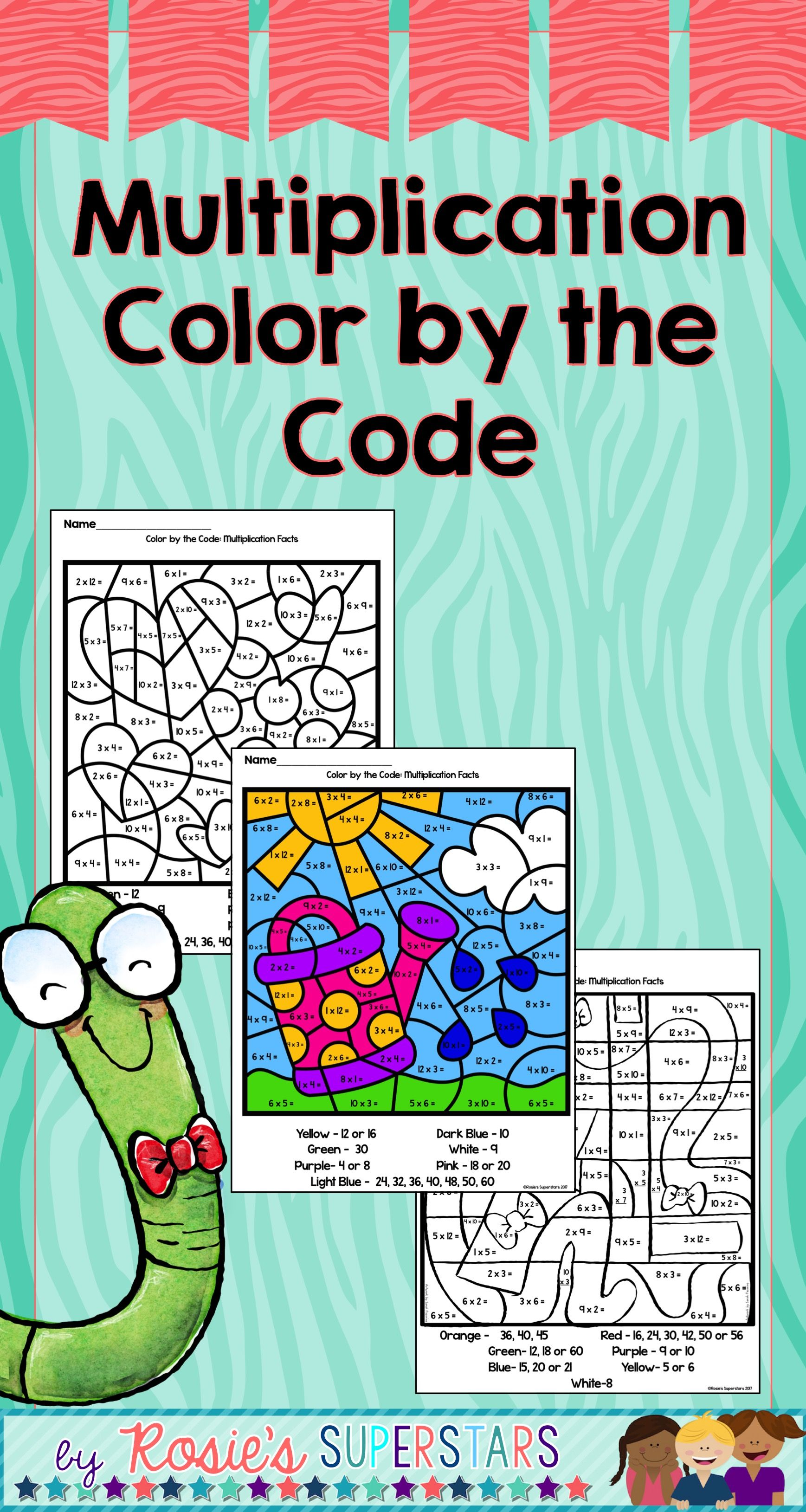 Multiplication Facts Color by the Code | Multiplication facts ...