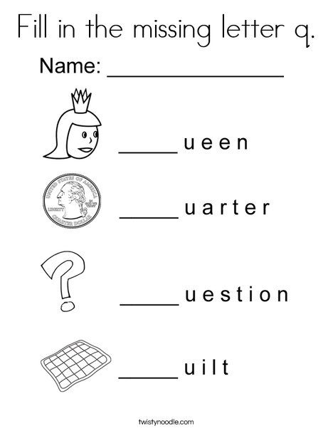 Fill In The Missing Letter Q Coloring Page Word Family Worksheets Phonics Kindergarten Lettering Coloring letter q worksheets preschool