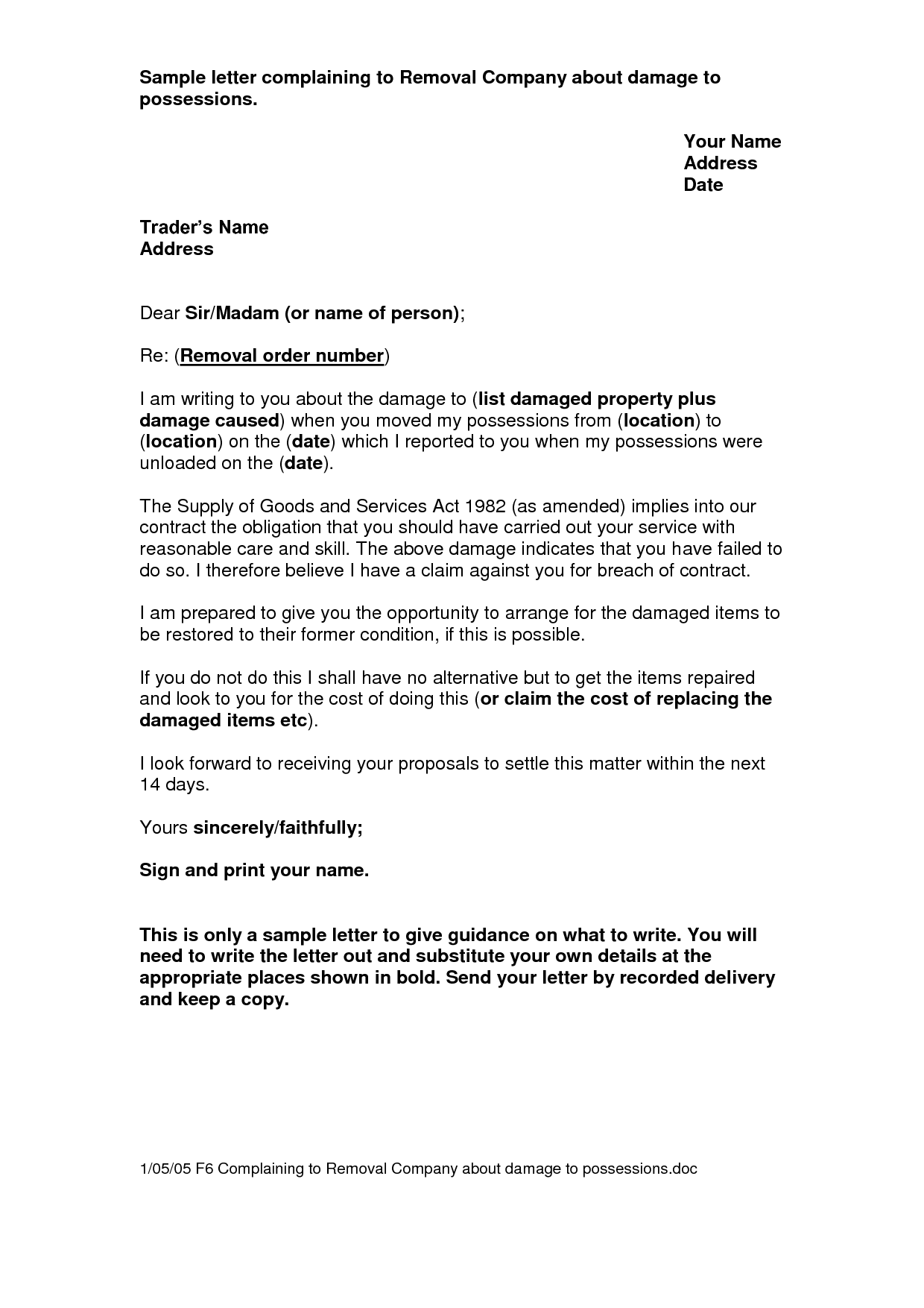 Sample Letter Complaining To Removal Company About Damage To How To Remove Removal Company Lettering
