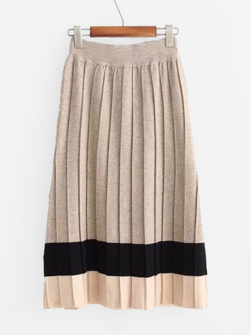 892e0cafb5 Colorblock Pleated Knit Skirt | clothes | Fashion dresses, Skirts ...