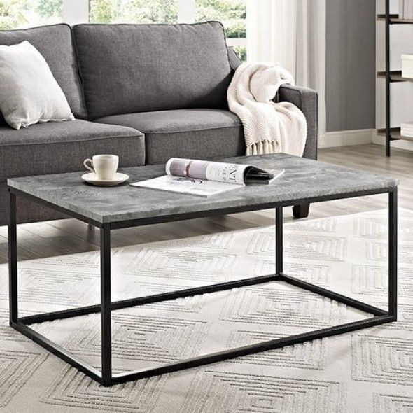 Large Wooden Coffee Table Industrial Grey Side End Tables Metal Living Furniture Coffee Table Living Room Table