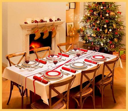 Mesa decorada para cena navidena cena navidad - Mesa navidena decoracion ...