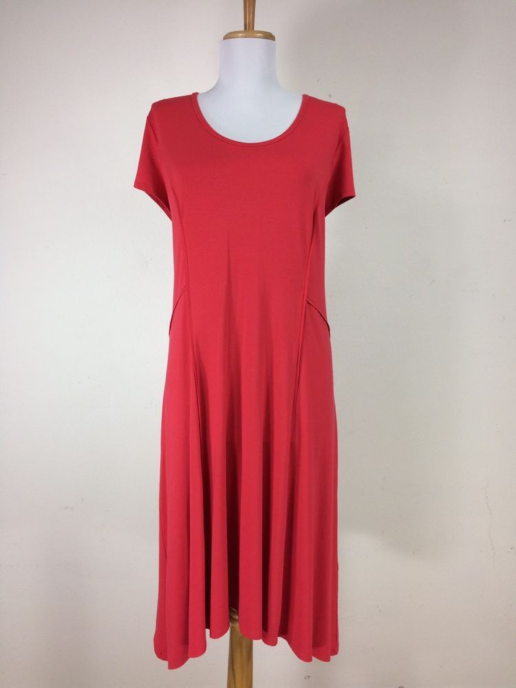 NWT Chicos Dress Size 3 Seamed Sydney Solid Rambling Red Career Work Casual  #Chicos
