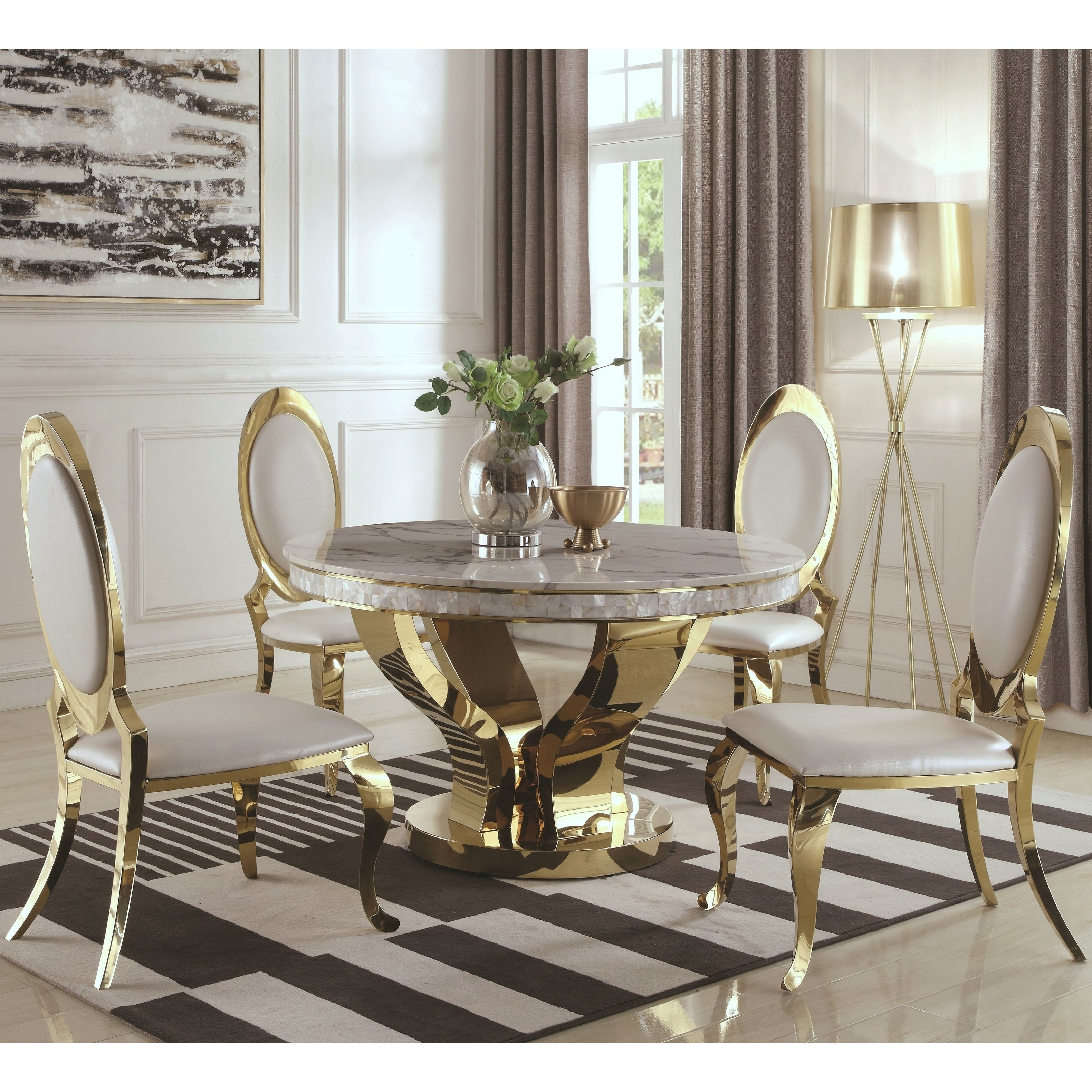 Luxurious Modern Design 5 Piece Gold Dining Set With Marble Table