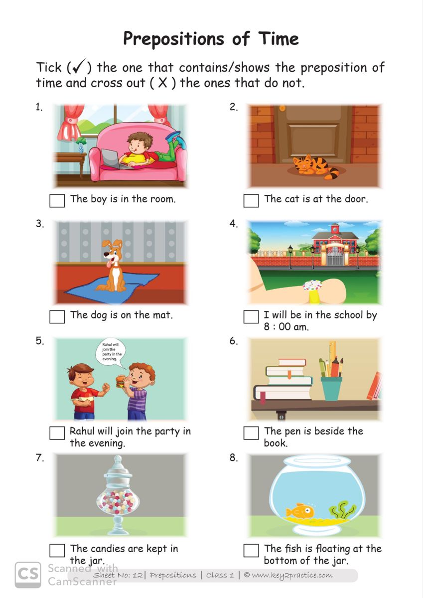 English Worksheets Grade 1 workbook on Prepositions in