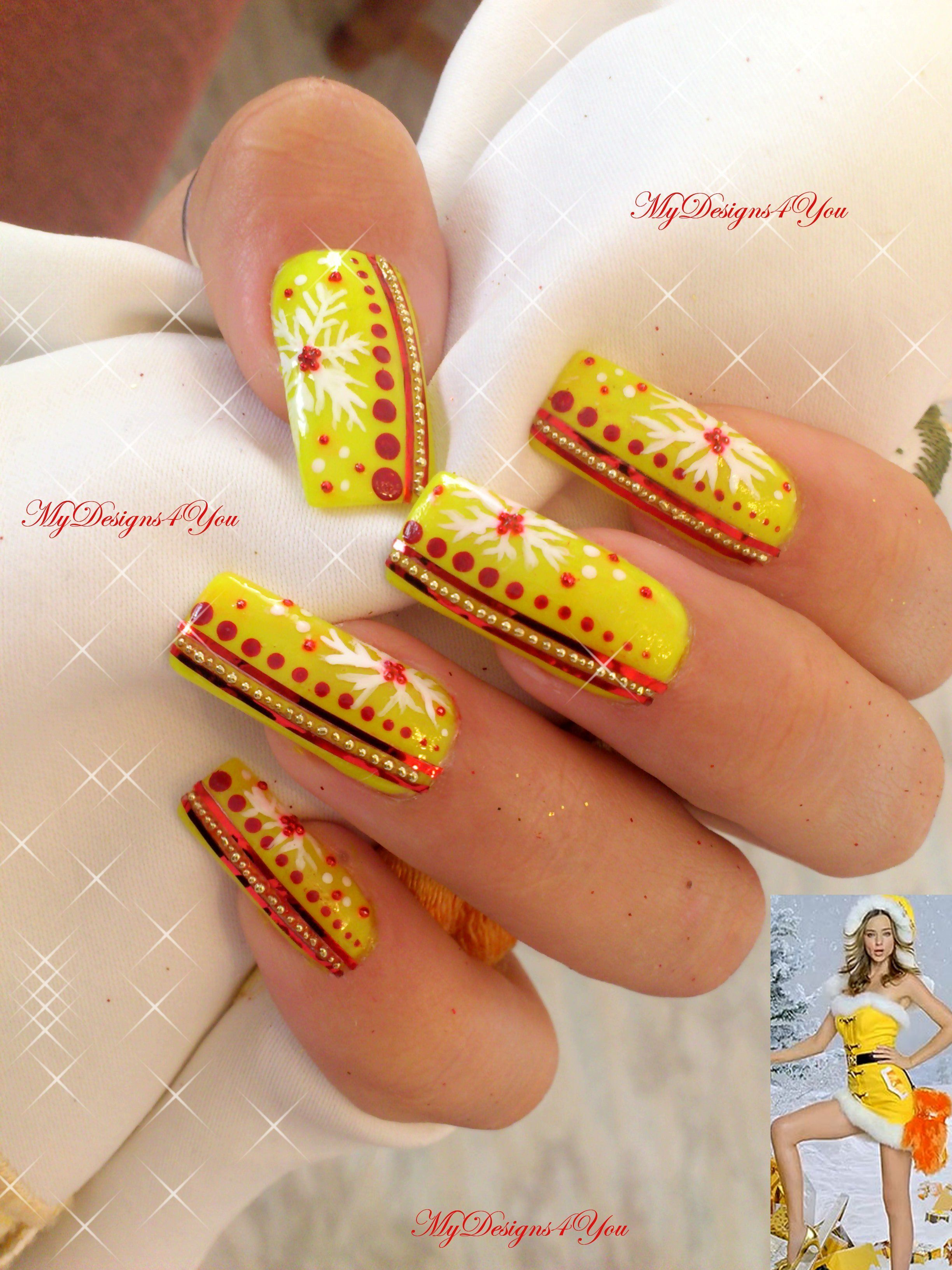Unusual, yellow Christmas nail design. For tutorial visit www ...