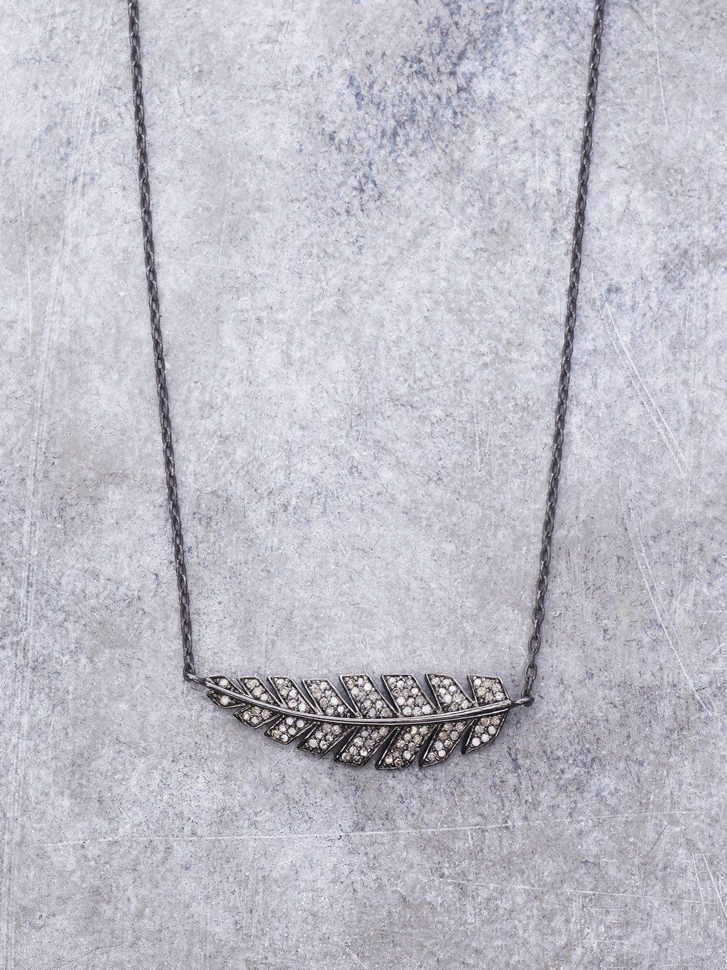 Champagne Diamond Encrusted Feather Necklace