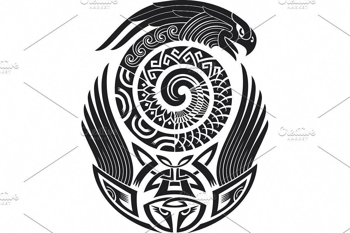 6e2c2abb3 Maori tattoo patterns (5x) tattoo maori pattern taniwha tiki tribal vector  indigenous polynesian swirl black ornament eagle shark snake monster ...