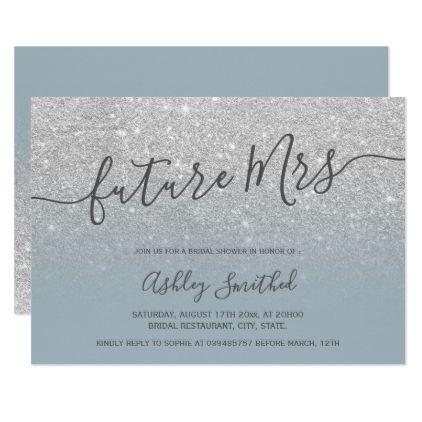 glitter dusty blue Mrs bridal shower Invitation