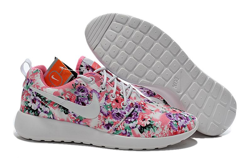 Nike Womens Roshe Run Painted Pink Purple Green Floral White