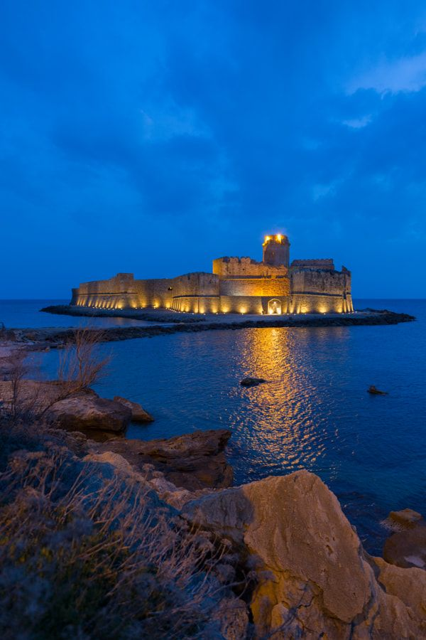 The Aragonese Castle situated on a small strip of land
