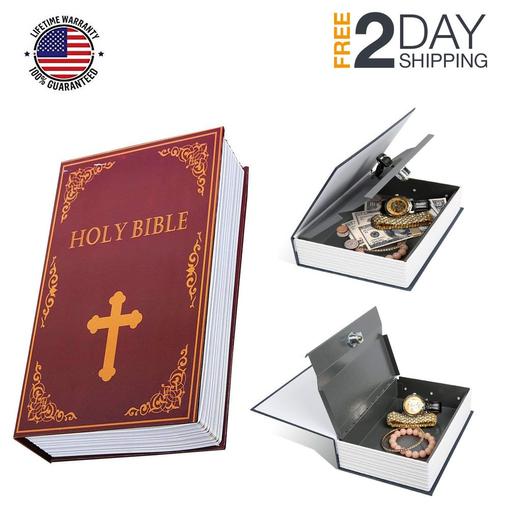 Holy Bible Diversion Book Safe, metal book-shaped money-box