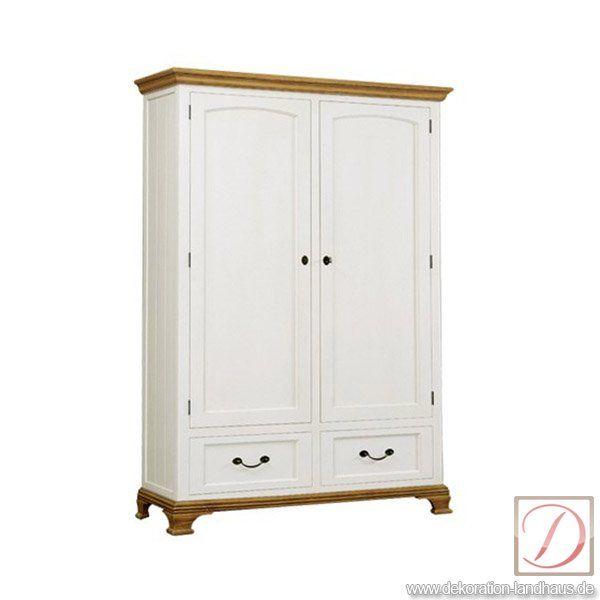 Kleiderschrank MONTREUX weiß H205cm Pinie Massivholz - Dieser - schlafzimmerschrank landhausstil weiß