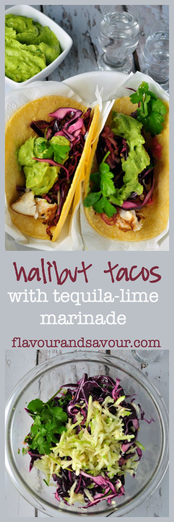 Halibut tacos with tequila lime marinade and red cabbage slaw. Serve with creamy guacamole. Perfect portable hand food!