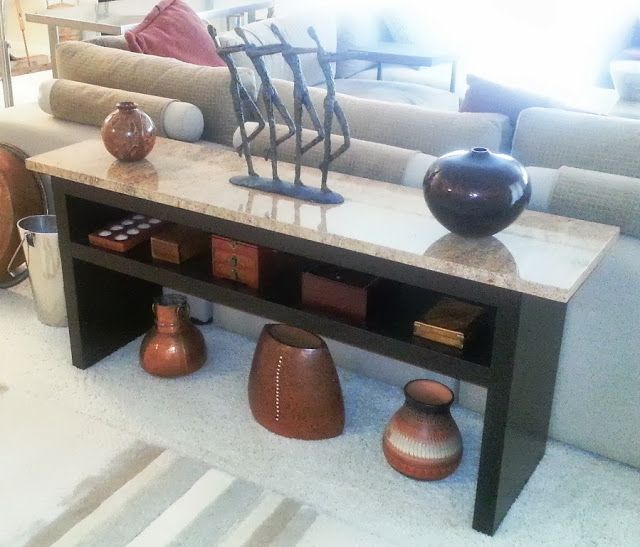 Granite Coffee Table with EXPEDIT Wall shelf and Lack ...