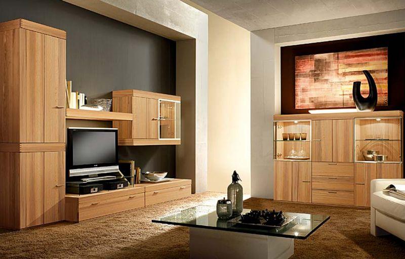 Thielemeyer LINEA Wohnzimmer Wohnwand Vorzugskomnination - Wohnzimmer Braunes Sofa