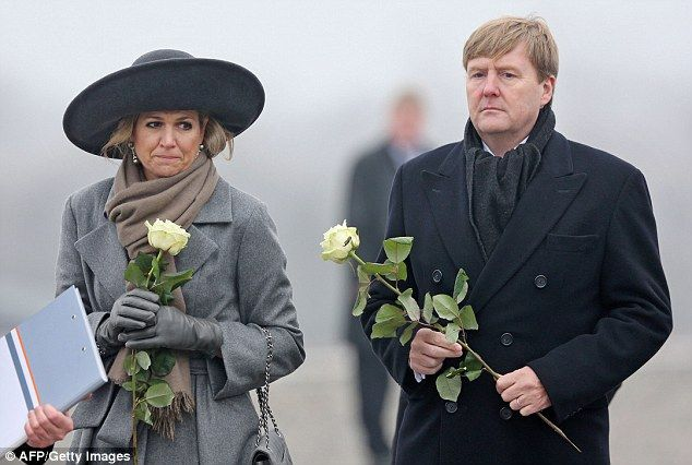 Maxima looked sombre as she and her husband toured the site of the former concentration ca...