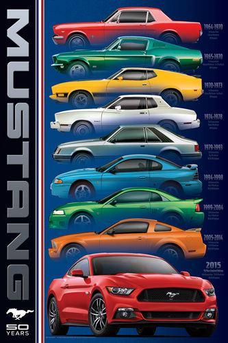 0b86d7f22ea  14.39 - Ford Mustang 50Th Anniversary 6 Generations American Muscle Car  Poster  ebay  Collectibles
