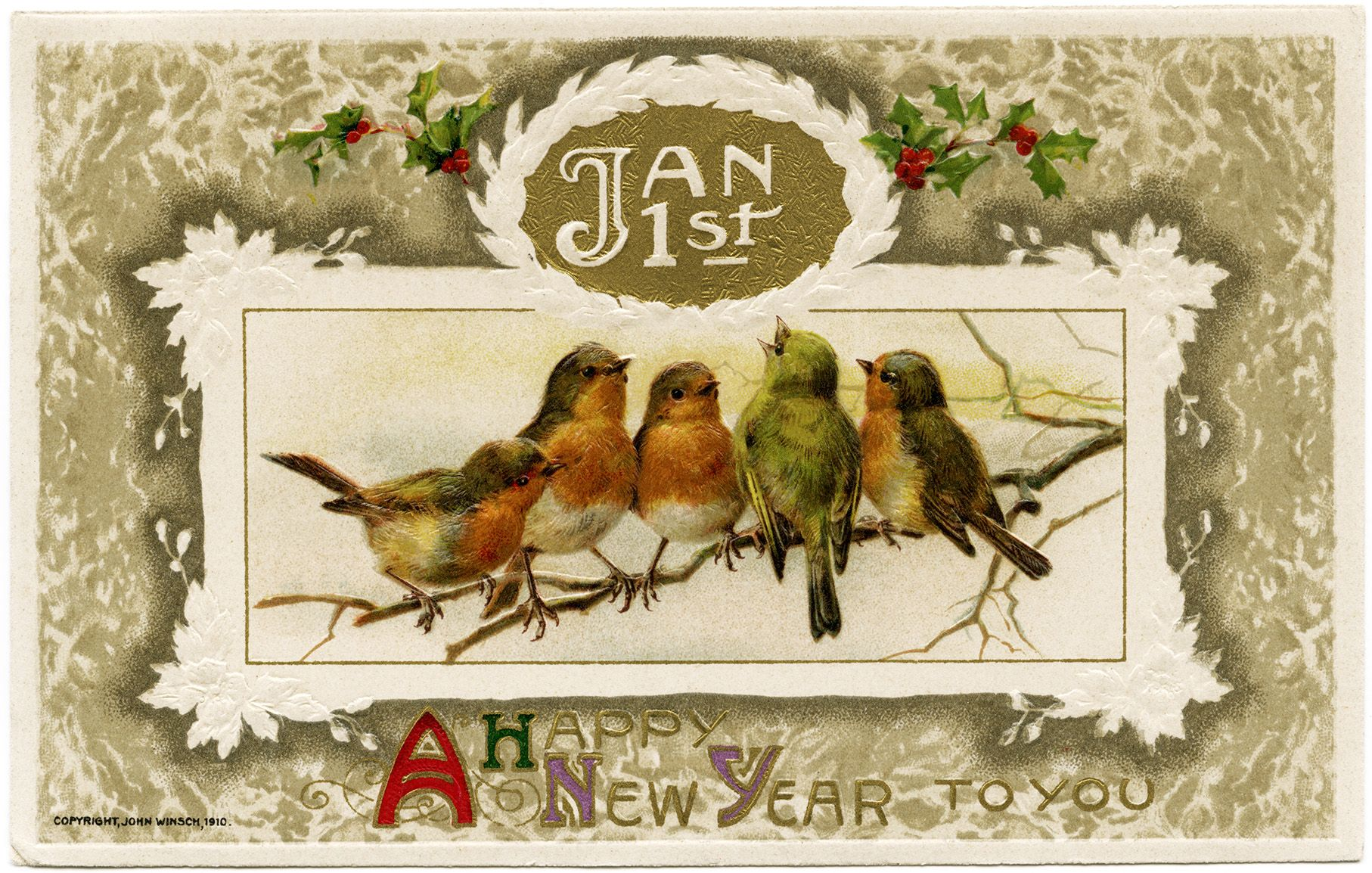 vintage new years cards free free vintage image john winsch birds new year postcard old design