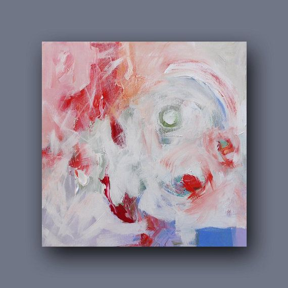 Painting Original Abstract Art White Blue Red di lindamonfort