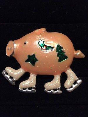 Vintage Estate Christmas Skating Pig Holiday Pin.