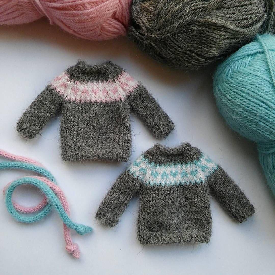 52181d8e Pink and aqua Nordic hearts ... miniature sweaters and i-cord ...