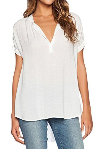 ba75a242acf61 Dearlovers Women Chiffon Blouse V Neck Short Long Sleeve Top Shirts      Click image to review more details.
