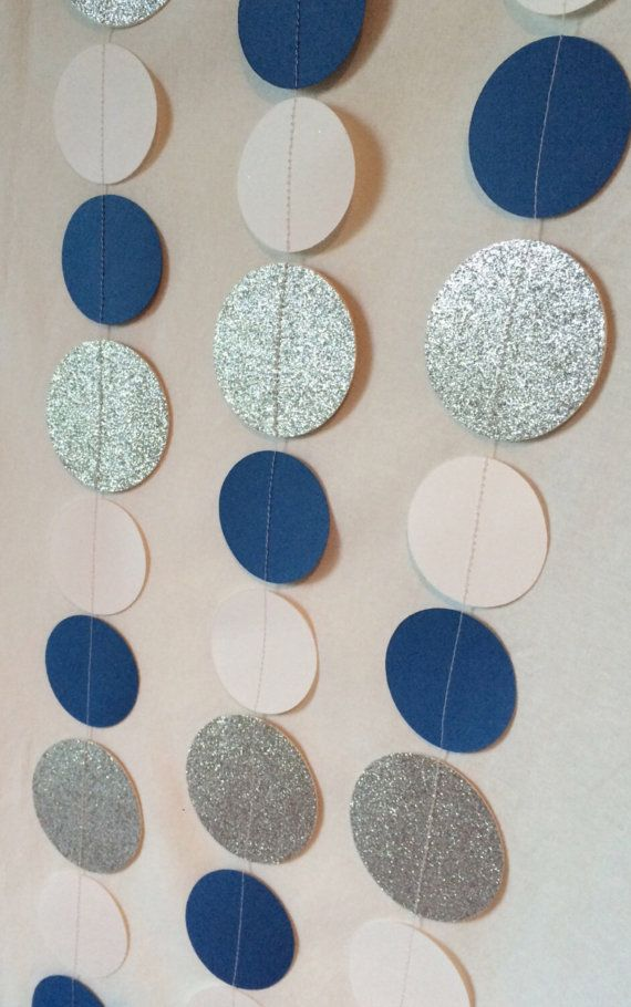 Blue White Silver Paper Garland By Sweetcutsshoppe On Etsy