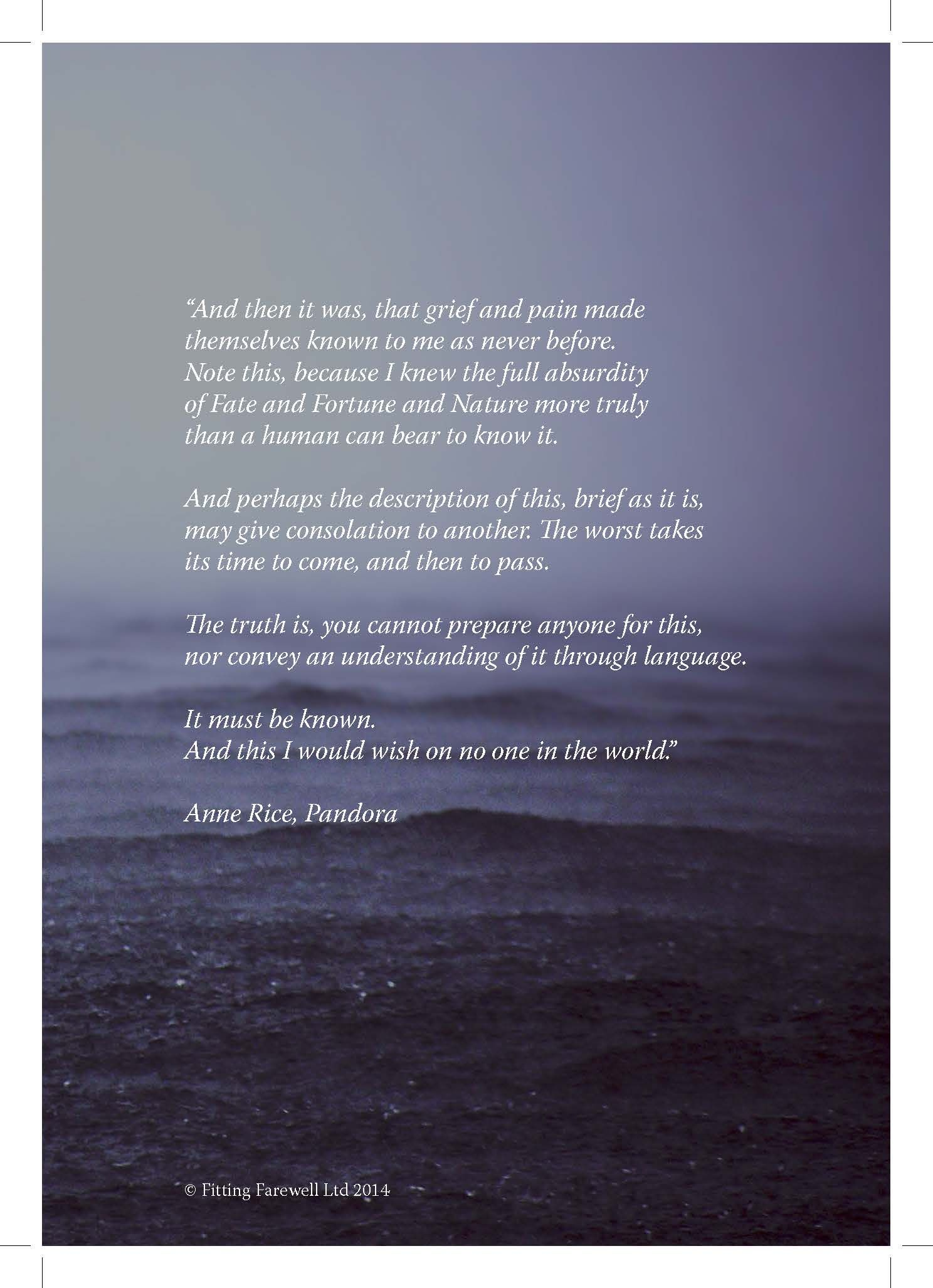 Quote about grief taken from Pandora by Anne Rice