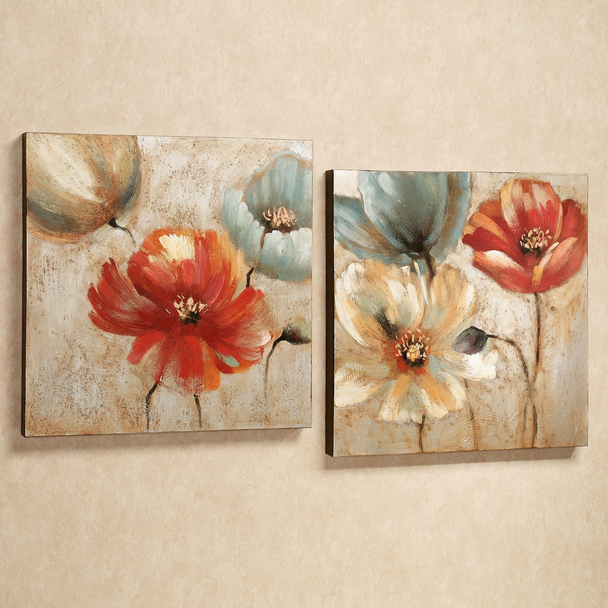 Wall art flower painting - Joyful Garden Floral Canvas Wall Art Set