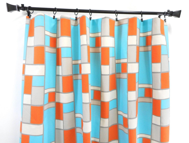 Hopscotch Panel Curtain. 2 panel curtain. Mandarin blue gray natural ...