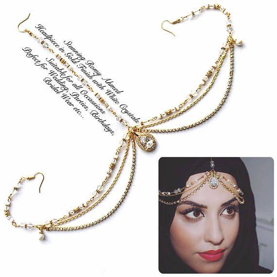 Gold headpiece indian bridal Matha Patti crystal forehead