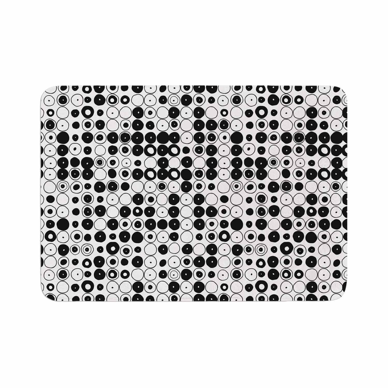 """Nandita Singh """"Black & White Funny Polka Dots"""" White Abstract Memory Foam Bath Mat"""
