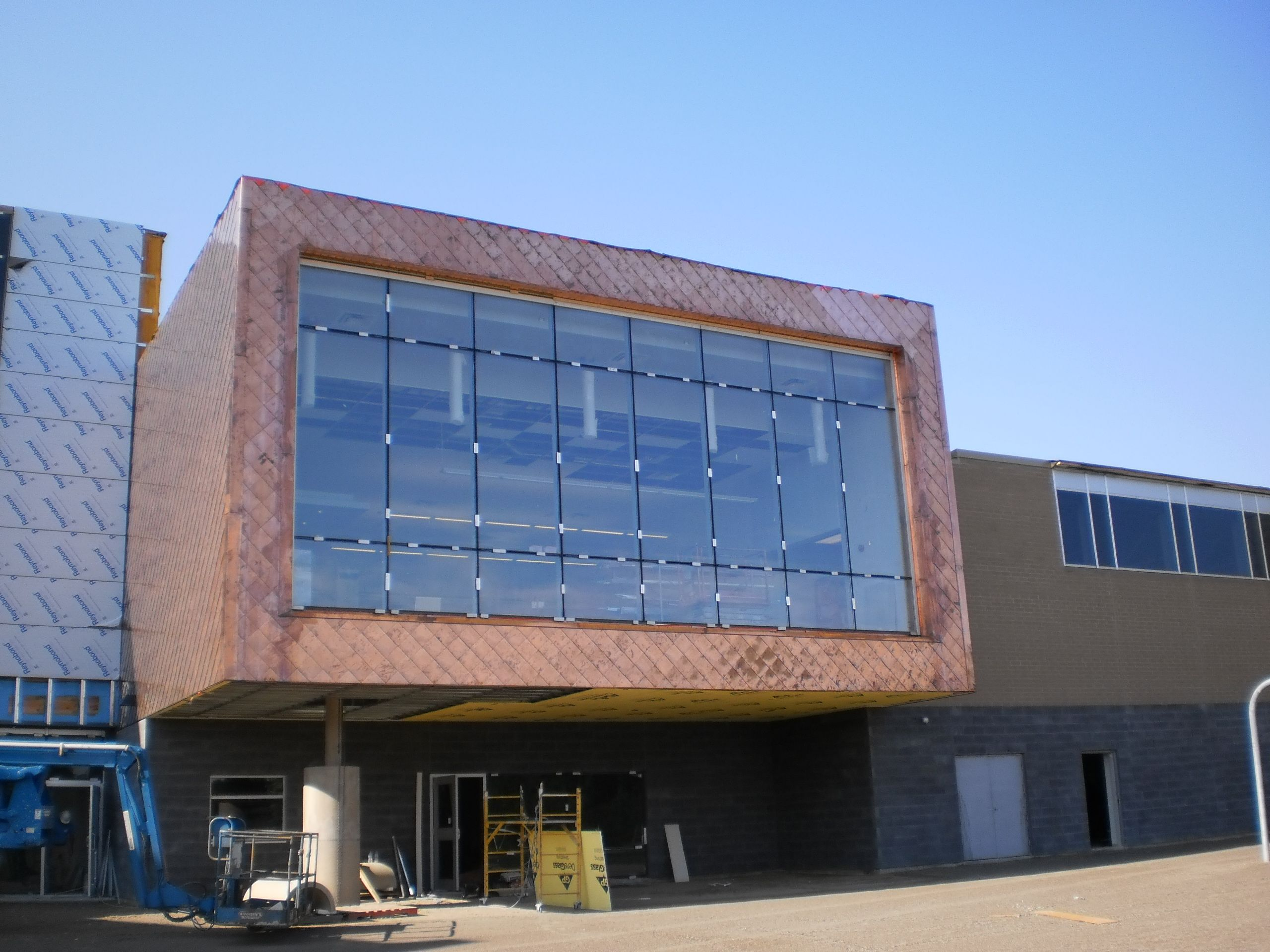 Diamond Style Copper Sheet Metal Wall Panels Fabricated By Heather Little Canada At Their Markham Location Were U Metal Wall Panel Wall Panels Wall Systems