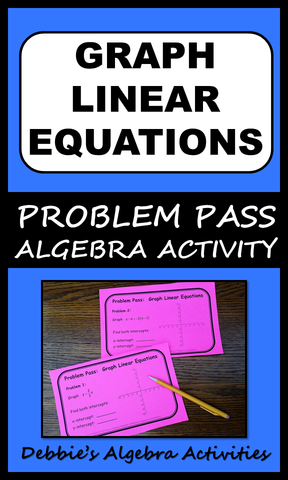 Graph Linear Equations Mixed Review Problem Pass Activity Algebra