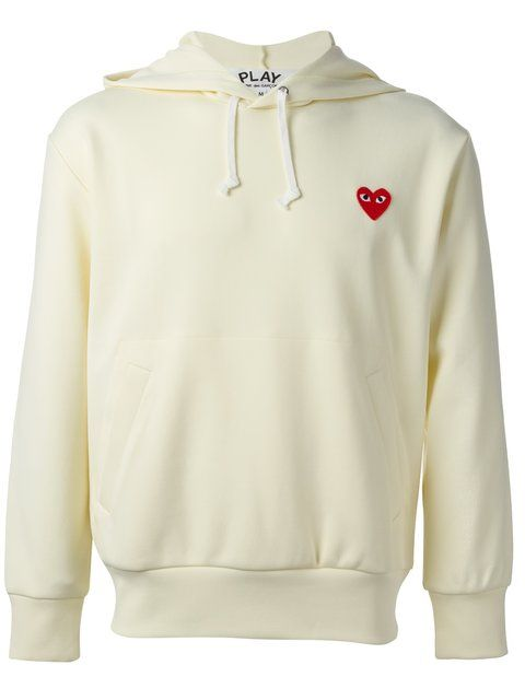 Comme Des Garcons Play Comme Des Garcons Play Off White Heart Patch Hoodie In Ivory Modesens Trendy Hoodies Comme Des Garcons Sick Clothes