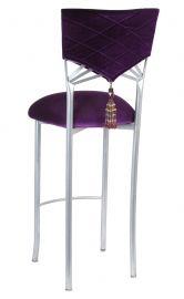 Eggplant Velvet Hat And Tassel With Cushion On Silver Legs Or Black Legs From Chameleon Chair Restoration