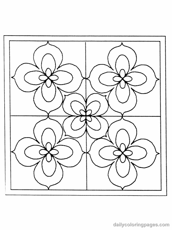 flower color pages for adults stained glass flower coloring pages 01
