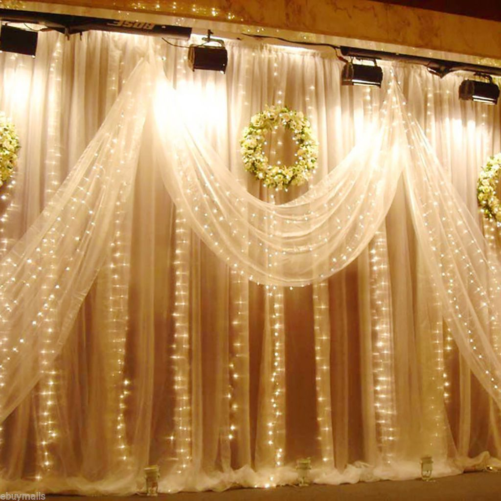 Warm white 3x3m 300 led curtain string fairy lights xmas outdoor warm white 3x3m 300 led curtain string fairy lights xmas outdoor wedding party in home aloadofball Images
